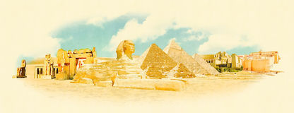 Egypt. Water color panoramic egypt illustration royalty free illustration