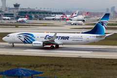 Egyptair Boeing 737-800. Istanbul Atatürk Airport royalty free stock photography