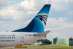 EgyptAir Boeing 737 staart Royalty-vrije Stock Afbeeldingen