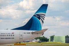 EgyptAir Boeing 737 svans Royaltyfria Bilder