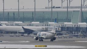 EgyptAir Boeing 737-800 SU-GEH taxiing in Munich Airport, MUC stock video