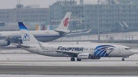 EgyptAir Boeing 737-800 SU-GEH in Munich Airport, MUC stock footage