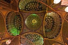 Egypte, Kaïro. De Moskee van Mohammed Ali. Binnen. Royalty-vrije Stock Afbeelding