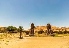 Egypte Luxor Colossi van Memnon stock foto
