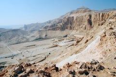Egypte. Luxor. Mening van de Tempel Hatshepsut Stock Afbeeldingen