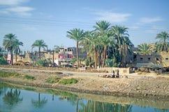 Egypte Oase naast de rivier van Nijl stock afbeelding