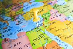Egypte op een kaart van Afrika wordt gespeld dat Stock Foto