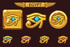 Egypten öga av Horus med kulöra dyrbara ädelstenar, den guld- symbolen på mynt och fyrkanten stock illustrationer