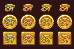 Egypten öga av Horus med kulöra dyrbara ädelstenar Egyptiska guld- symboler i olika versioner stock illustrationer
