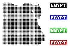 Egypten översikt i Dot Style med Grungetitelstämplar royaltyfri illustrationer