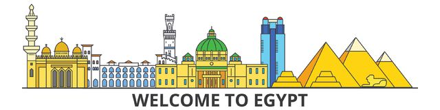 Egypten översiktshorisont, plan tunn linje symboler, gränsmärken, illustrationer för egyptier Egypten cityscape, egyptisk loppsta stock illustrationer
