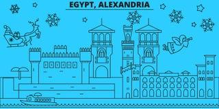 Egypten Alexandria övervintrar feriehorisont Glad jul, det lyckliga nya året dekorerade banret med Santa Claus egypt stock illustrationer