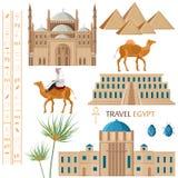 Egypten arkitektur och fastställd vektor för symbolbeståndsdelar Berömda nationella stilar för för för för stadsarkitektur, kamel royaltyfri illustrationer