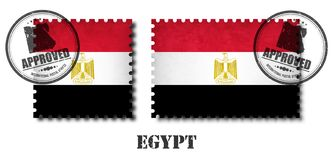 Egypten eller den egyptiska stämpeln för flaggamodellporto med gammal skrapatextur för grunge och fäster en skyddsremsa på bakgru royaltyfri illustrationer