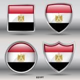 Egypten flagga i samling för 4 former med den snabba banan Fotografering för Bildbyråer