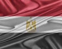 Egypten flagga med en glansig siden- textur vektor illustrationer