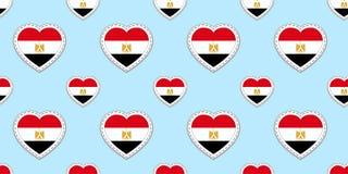 Egypten flaggabakgrund Sömlös modell för egyptisk flagga Tomma glansiga etiketter för vektor Förälskelsehjärtasymboler Bra val fö royaltyfri illustrationer