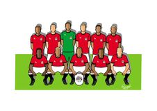 Egypten fotbollslag 2018 stock illustrationer