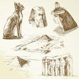 Egypten - hand tecknad set Arkivbild