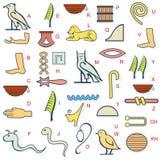 Egypten hierogliphalfabet vektor illustrationer
