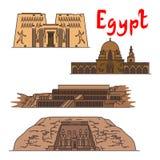 Egypten historiska gränsmärken och sighter royaltyfri illustrationer
