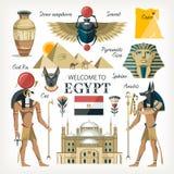 Egypten samlingsuppsättning med traditionella symboler av landet vektor illustrationer