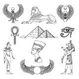 Egypten symboluppsättning vektor illustrationer
