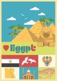 Egypten vektor i tappningstil Egyptiska traditionella symboler i plan design Semester och sommar stock illustrationer