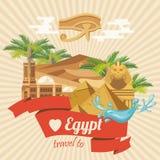 Egypten vektor Modern hipsterstil Egyptiska traditionella symboler i plan design Semester och sommar royaltyfri illustrationer