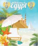 Egypten vektor sätta på land semesterorten Modernt utforma Egyptiska traditionella symboler i plan design Semester och sommar royaltyfri illustrationer