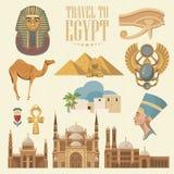 Egypten vektoruppsättning Modern hipsterstil Egyptiska traditionella symboler i plan design Semester och sommar stock illustrationer