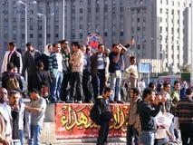 Mensen die zich in Tahrir-Vierkant verzamelen Stock Foto