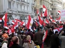 Egyptenaren die de berusting van Mubarak verzoeken Stock Fotografie