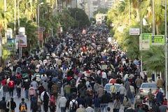 Egyptenaren die tegen voorzitter Morsi aantonen Stock Fotografie