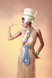 Egyptian. Queen in pharaoh costume stock photo