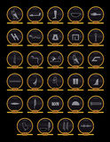 Egyptian Alphabet. This is a set of vector Egyptian hieroglyphic icons on stone tablets Stock Image
