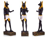 The Egyptian ancient art Anubis Sculpture  Figurine Statue on white background stock photography