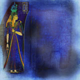 Egyptian ancient art background. Blue wallpaper inspired by egyptian art and hieroglyphics stock photography