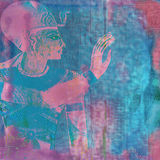 Egyptian ancient art texture. Blue and purple grunge texture inspired by egyptian art and hieroglyphics royalty free stock image