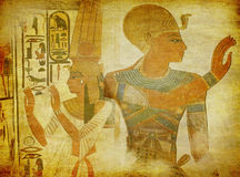 Egyptian antique art wallpaper. Grunge wallpaper with a pharaoh figure, queen Nefertari and hieroglyphics stock images