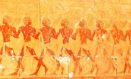 Egyptian army. Axemen and archers in the army. Scene from the early new kingdom mortuary temple of Queen Hatshepsut at Thebes in Egypt Royalty Free Stock Photos