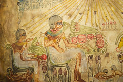 Egyptian Art. Egyptian Family Ancient Egyptian hand painting on papyrus Stock Image