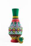 Egyptian artistic painted pottery vessel (arabic: Kola) Royalty Free Stock Image