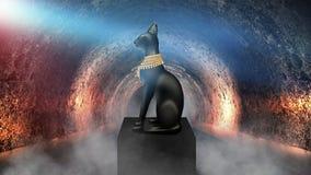 Egyptian asbstract background, goddess of Egypt Bastet vector illustration