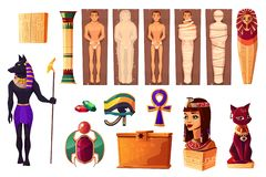 Egyptian attributes of culture and religion set. Egyptian ancient attributes of culture and religion set isolated on white background. Egypt deities and stock illustration