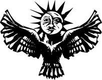 Egyptian Ba Soul. Woodcut style image of a sun and moon on an owl Egyptian Ba concept Stock Photos