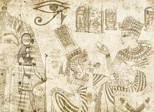 Egyptian background. Antique egyptian background with drawings Royalty Free Stock Photo