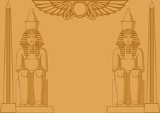 Egyptian Background. Abstract background with egyptian statues of pharaohs and obelisks Stock Photo