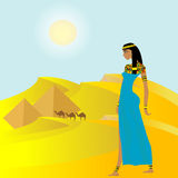 Egyptian background with ancient woman and pyramids Royalty Free Stock Photography
