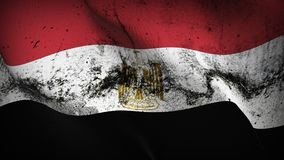 Egypt grunge dirty flag waving on wind. Egyptian background fullscreen grease flag blowing on wind. Realistic filth fabric texture on windy day Stock Images